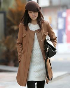 棕色帅气拼接呢子大衣