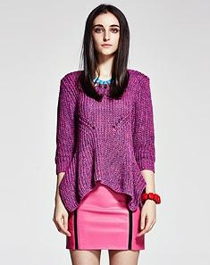 紫粉色的针织衫配什么颜色的链条单肩包