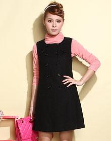 黑色简约无袖连衣裙